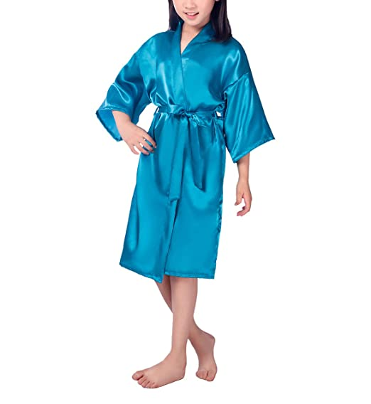 Amazon.com: Hwafan Children Kids Satin Silk Bathrobe Kimono Dressing ...