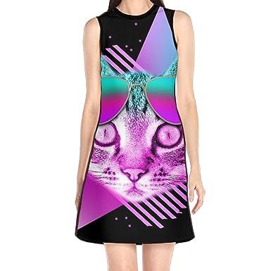 1801b2c9a91 Amazon.com  BLACKY Funny Neon Retro Cat Printed Shift Dress Sleeveless Tank Dresses  Beach Suit for Women  Clothing