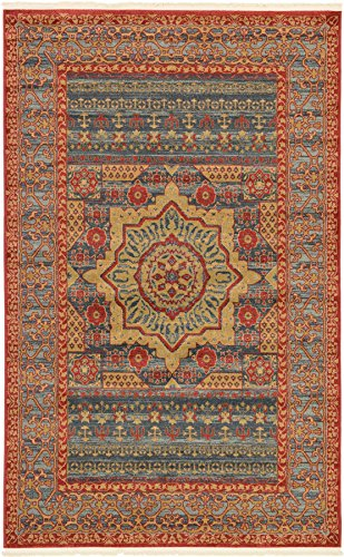 Traditional Medallion Persian Style Rugs Navy Blue 4' 11 x 8' FT (152cm x 244cm) Manchester Area Rugs For Living Room Dining Rug Floor Carpets - Manchester Living Room