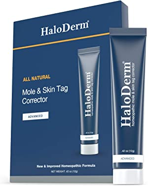 HaloDerm Advanced Skin Tag Remover & Skin Growth Remover - Homeopathic Fast & Effective Skin Tag Cream - Remove up to 10 Skin Tags (FAST Results In As Little As 3-5 Applications)
