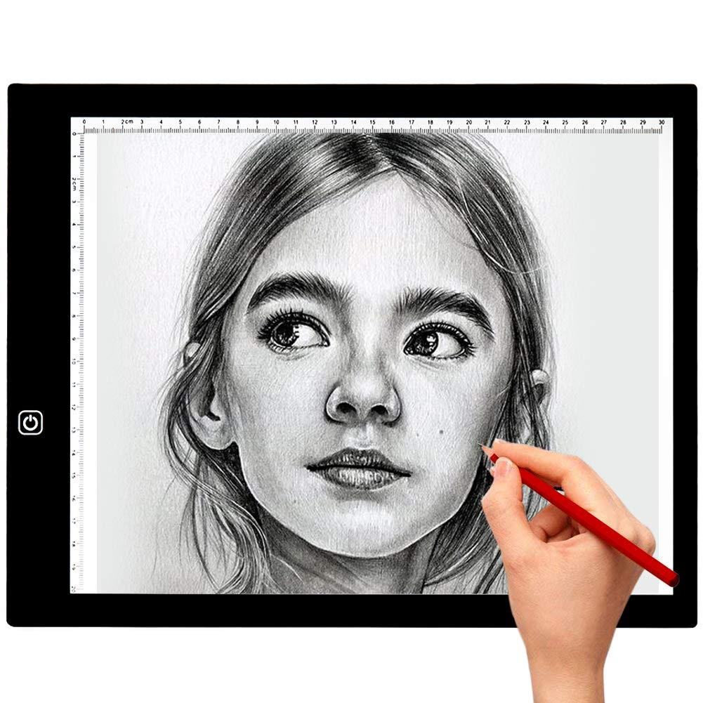 2018 New Ultra-Thin A4 LED Light Box Tracer sakobs LED artcraft Tracing,Light Pad for Kid,Light Box with 3 Level Adjustable Brightness for Drawing, Sketching,Animation,X-Ray Viewing,Sewing,Quilting