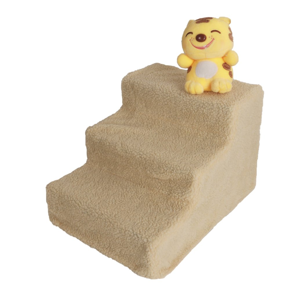 Lykos Soft Portable Cat Dog 3 Steps Ramp Small Climb Pet Step Stairs (Beige) by Lykos (Image #9)