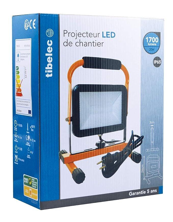 Tibelec 347160 Projecteur de Chantier sur Pied LED 20W 1700 lumens IP65,  Polycarbonate, 20 W, Orange, 183x212x260mm  Amazon.fr  Luminaires et  Eclairage e344e9e4e0fd