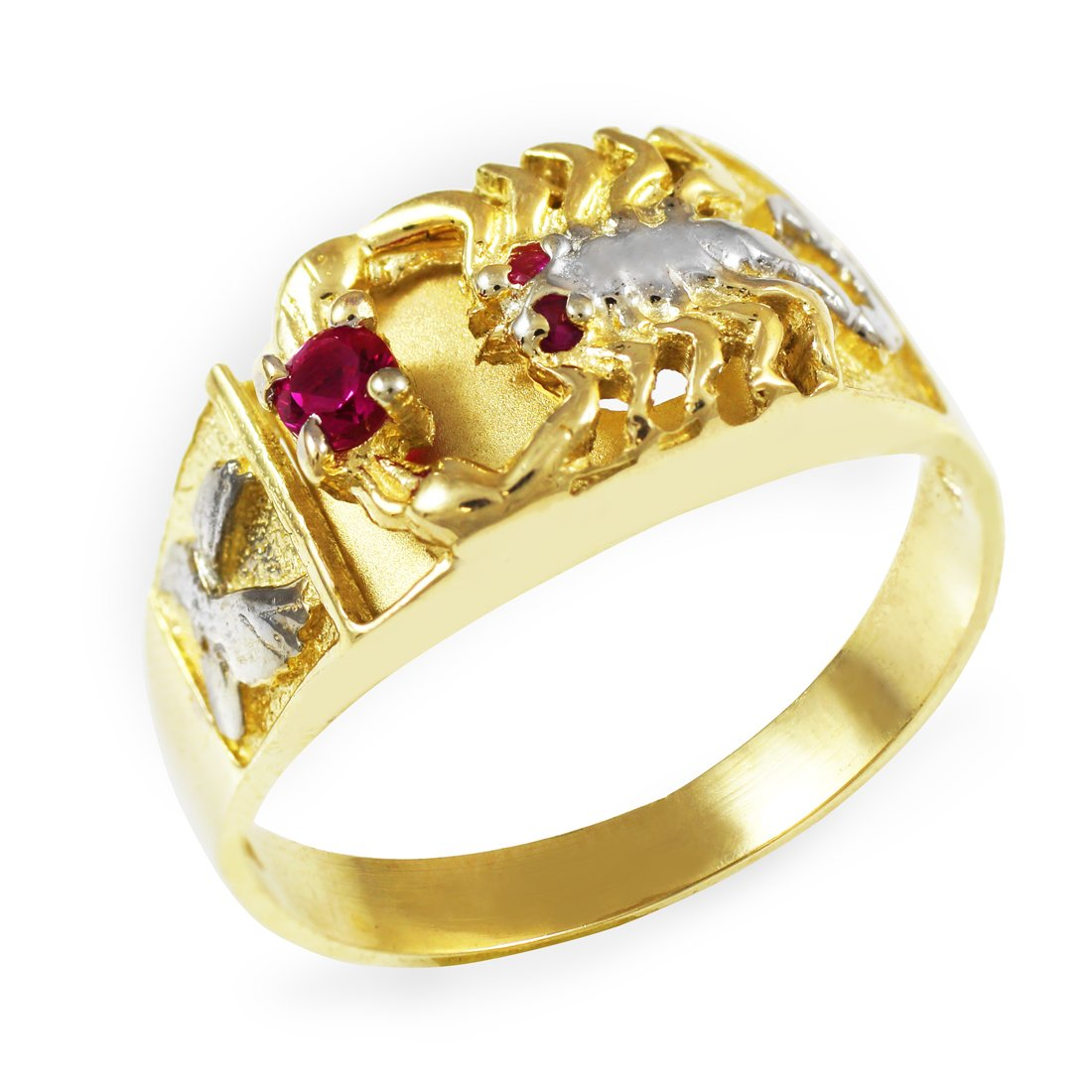 10K Two-Tone Gold Red CZ Men's Scorpion Ring (10.5)
