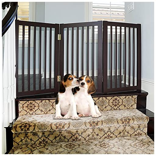 WELLAND Wood Freestanding Pet Gate Espresso, 54-Inch Width, 30-Inch Height (No Support Feet)