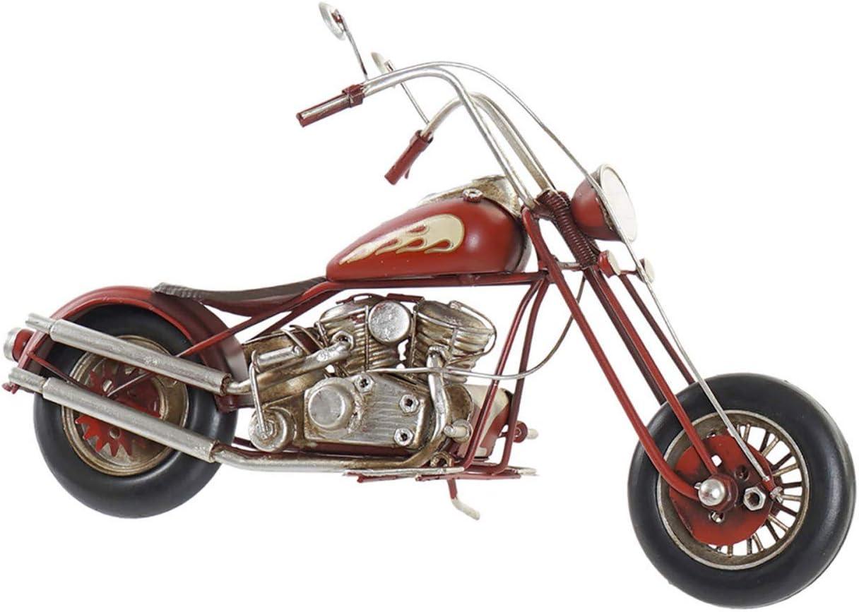 Moto Decoración Vintage, Figura Decorativa de Metal. Diseño Antiguo/Realista 29X9X17cm - Hogar y Más - Rojo