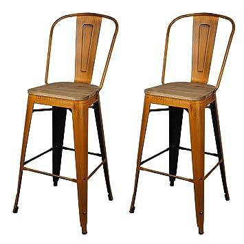 Gia High Back Armless Metal Bar Chair 2 Pack Antique Orange Light Wood