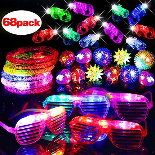 Shape Stretch Bracelet - 68 Pack LED Light Up Toy Glow in The Dark Halloween Decoration Kids Party Favor Supplies Assortment Toy 50 LED Finger Light 10 Flashing Bumpy Ring 4 Glow Bracelet 4 Slotted Glasses Birthday Giftbox