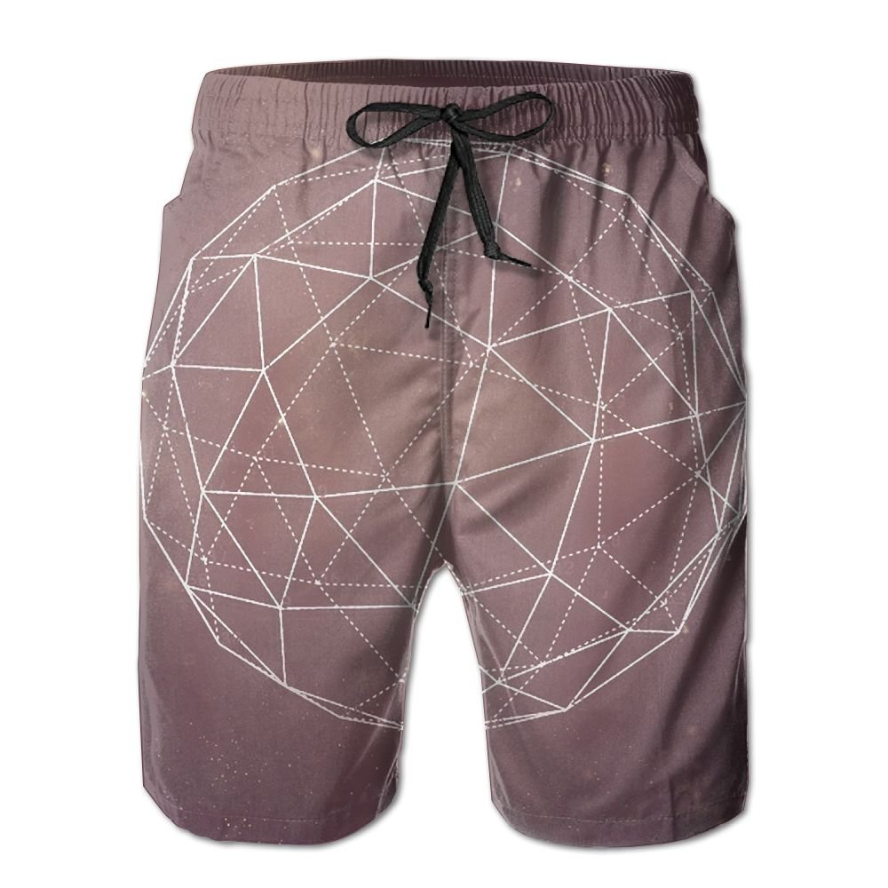 Tydo Space Sacred Geometry Ball Mens Beach Shorts Casual Swim Trunks Surf Board Pants With Pockets For Men