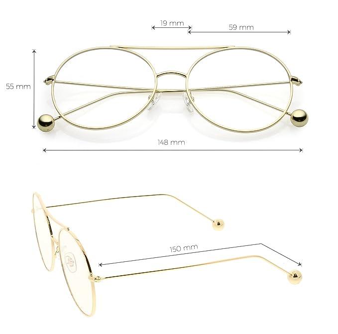 e187821ce9 Amazon.com  sunglassLA - Premium Oversize Round Eyeglasses Metal Double  Nose Bridge Clear Flat Lens 59mm (Black Clear)  Clothing