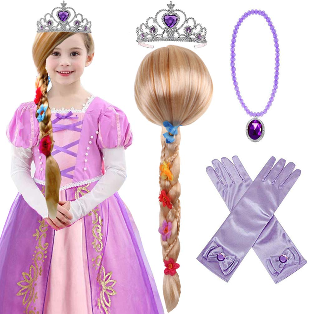 Princess Rapunzel Wig Rapunzel Braid with Princess Tiara Necklace Gloves Princess Rapunzel Dress Up Costume Cosplay Accessories for Kids Girls by Yosbabe