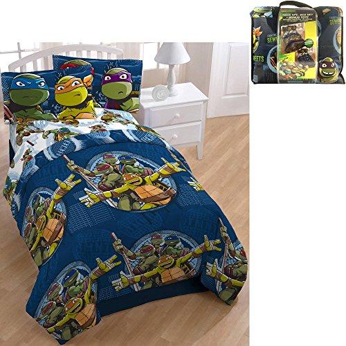 D.I.D. 5 Piece Kids Green Blue Teenage Mutant Ninja Turtles Comforter Twin Set, TMNT Bedding Rapheal Leonardo Donatello Michelangelo Warriors Blue Orange Purple Yellow White, Polyester