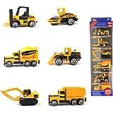 HAPTIME 5 MIni Cars Toys Pack for Chirldren - Excavator / Dump Truck / Bulldozer / Wheel Loader / Forklift (1:64 Construction Vehicle)