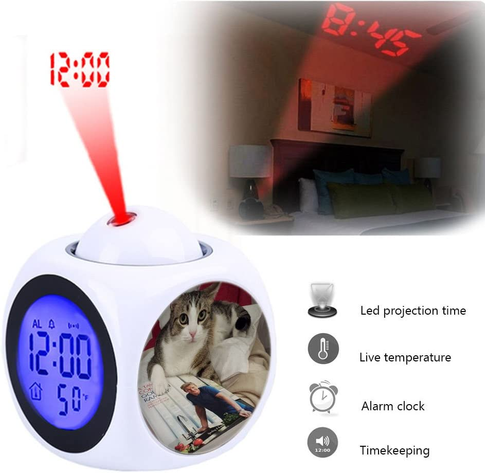 Gordon Ramsay Kitchen Recipe Book cat LED Wall//Ceiling Projection,Customize The pattern-082.Chef Mario Projection Alarm Clock Wake Up Bedroom with Data and Temperature Display Talking Function