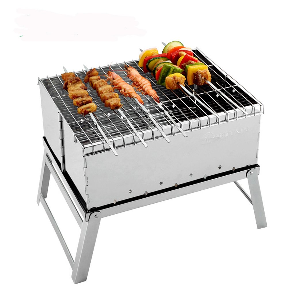 ELEOPTION Tabletop BBQ Grill Portable Folding Charcoal Barbecue Grill Mini Stainless Steel Camping Grill for Camping, Picnics, Backpacking, Backyards, Survival, Emergency Preparation