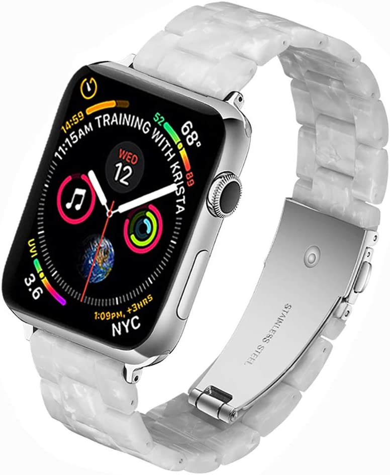 Miimall Compatible Apple Watch 42mm 44mm Resin Band Women Men Bracelet Stainless Steel Buckle Band Strap for Apple Watch SE Series 6 Series 5 Series 4 Series 3 Series 2 Series 1 42mm 44mm(Pearl)