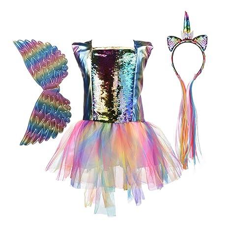 FENICAL - Disfraz de Unicornio, tutú, Falda, Lentejuelas, Vestido ...