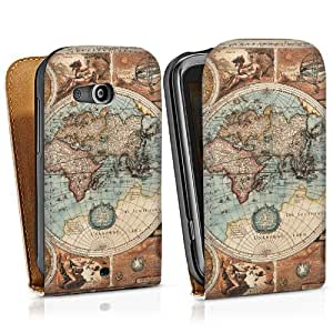HTC Desire 200Funda Silicona Case Protección cover Vintage Mapa Del Mundo tarjeta Map