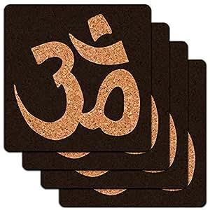 Om Aum Yoga Namaste Low Profile Cork Coaster Set