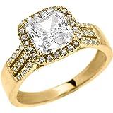 10k Yellow Gold Dainty 3 Carat Micro Pave Princess Cut Halo Engagement Ring