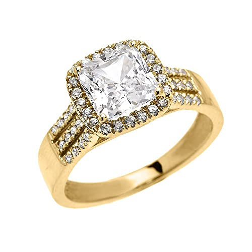 14k Yellow Gold Dainty 3 Carat Micro Pave Princess Cut Halo Engagement Ring