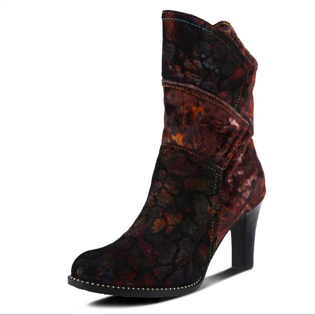 L'Artiste by Spring Step Women's Neada Fashion Boot B07CYPVSP5 37 Medium EU (6.5-7 US)|Bordeaux Multi