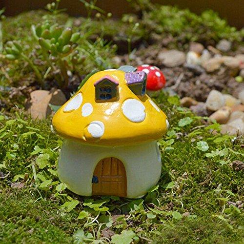 Miniature Fairy Garden Mushroom House Ornament Dollhouse Plant Pot Figurine DIY Outdoor...