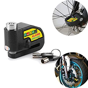OurLeeme 110 dB Seguridad Sistema de Alarma antirrobo de Bloqueo Cerraduras de Alarma Rueda de Disco de Freno para Motocicletas Harley KTM Yamaha