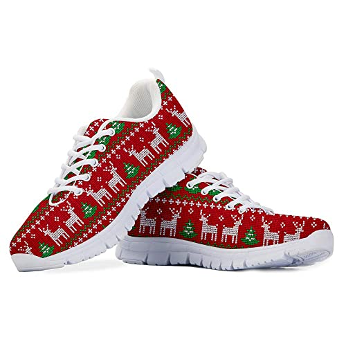bc5f4a1283652 Amazon.com: Hand Painted Print Canvas Shoe Christmas Reindeer Red ...
