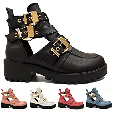 69bab0a61f1 WOMENS LADIES GOLD TRIM BUCKLES CHUNKY CUT OUT CHELSEA ANKLE BIKER BOOTS  SHOES