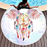 Sleepwish Native American Dream Catcher Round Beach Towel Circular Beach Towel Western Throw Blanket (Angel Wings, 60'')