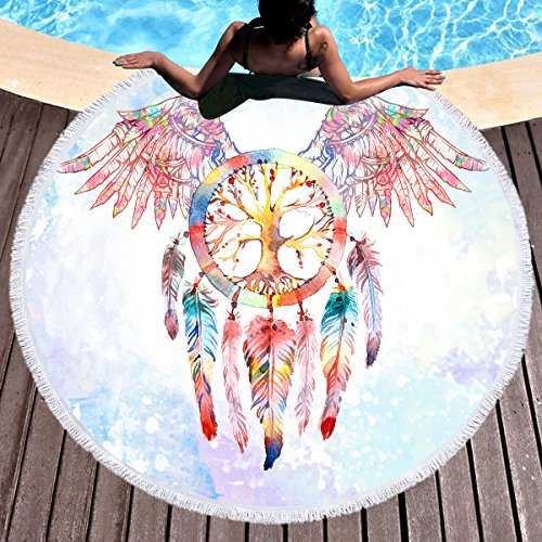 Sleepwish Native American Dream Catcher Round Beach Towel Circular Beach Towel Western Throw Blanket (Angel Wings, 60'') by Sleepwish