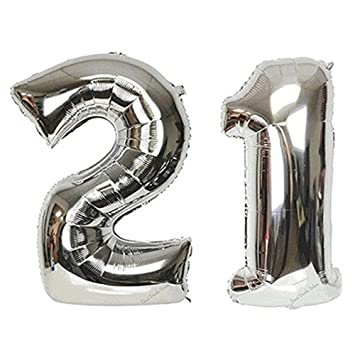 21 Number Balloons For 21st Birthday Decorations Party Silver 40 Inch