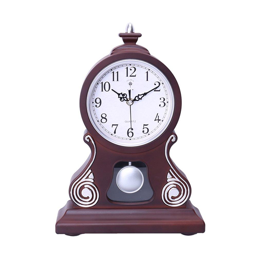 HAOFAY Living Room Swing Desktop Clock Ornaments Desktop Decorative Clock Retro Mute Shelf Clock