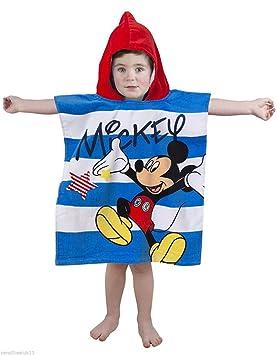 Oficial de Disney para niños niños niños niñas con capucha Poncho playa toallas de baño azul rosa 100% algodón 50 cm x 115 cm) (Mickey Mouse): Amazon.es: ...