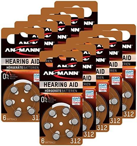 Ansmann Hörgerätebatterien 312 Braun 60 Stück Zink Elektronik