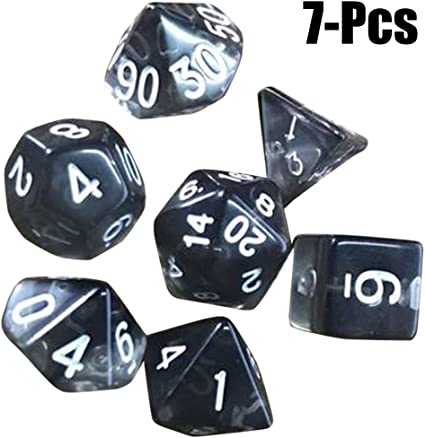 Joyibay Party Dice, 7Pcs Color Dice Mini See Through Acrylic Dice Polyhedral Game Dice Playing Dice Toy (Black)
