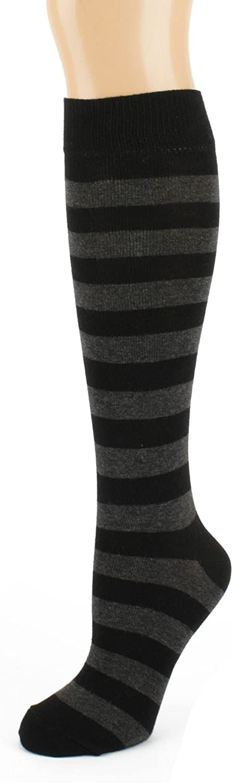 Black and Grey Striped Knee High Socks