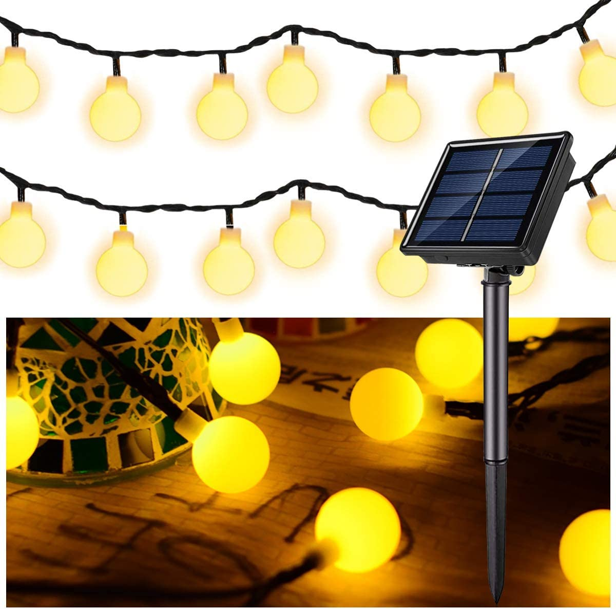 Solar Globe String Lights 37 FT 60 LED, Super Bright Globe String Lights Upgraded Battery ,Waterproof 8 Modes Pergola Lights for Fairy Garden Gazebo Pergola Party Outdoor