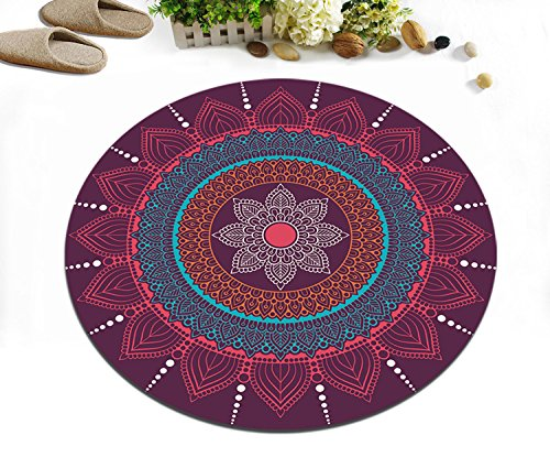 LB Round Mandala Area Rug for Living Room Bedroom Study, Indian Oriental Hippie Hipster Home Decor Meditation Carpet Mat Tapestry Indoor, 4 feet