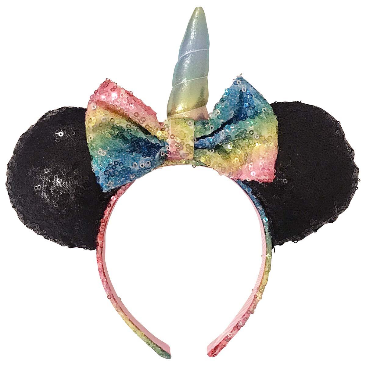 2ed395d7f6bd Minnie Mouse Girls Sequins Bow and Ear Headband - Rainbow Sequin Bow with  Unicorn Horn and