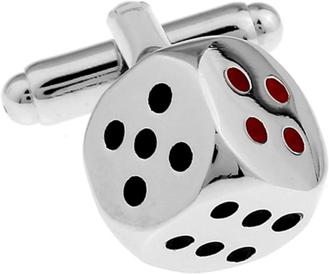 Rolling Dice Cufflinks Silver Toned Two Moving Dice Cuff Links
