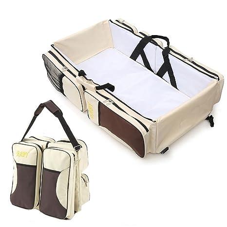 Multifuncional 3 en 1 bebé cambiando bolsos cambiadores Viaje cama cuna portátil bolsa plegable bolsa de la compra de pañales cambiador de bolsa Baby ...