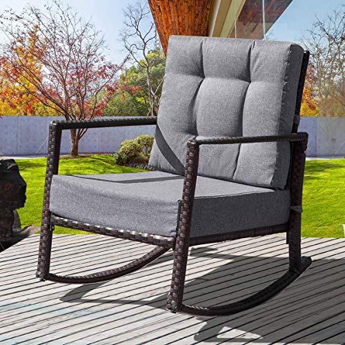 ALI VIRGO Rattan Rocking Chair Outdoor, Porch Cushioned Armchair Wicker Stool Ergonomics Lawn Leisure, for Lounge Garden Patio Balcony Furniture, Simple Gray
