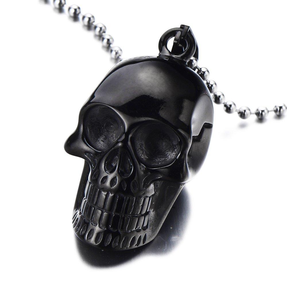 COOLSTEELANDBEYOND Nero Argento Casco Ciondolo Cranio Palla Catena 75cm Acciaio Collana con Pendente Teschio da Uomo Donna