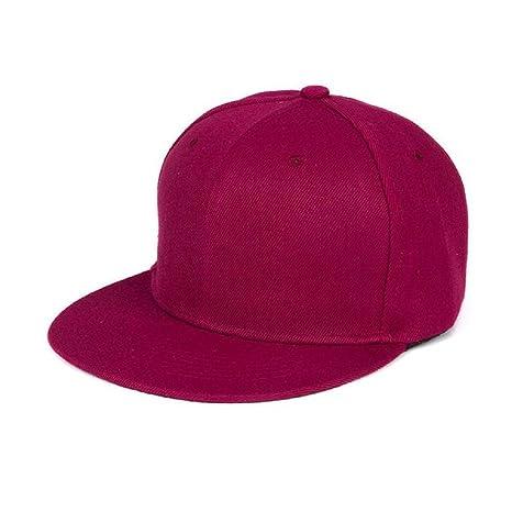 3662d1c5961b2 Tongshi Moda Unisex Plain Snapback Hats Hip-Hop ajustable Gorra de béisbol  (Vino rojo