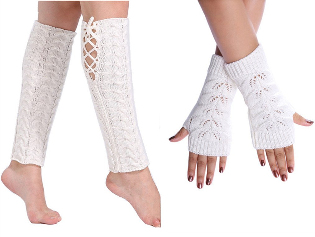 Womens Crochet Knitted Cuff Socks Leg Warmer Arm Warmer Fingerless Gloves Set (white)
