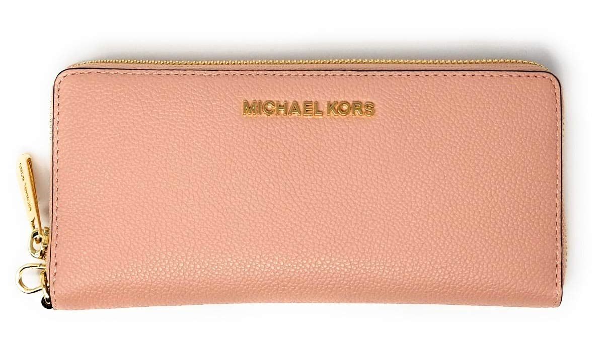 Michael Kors Jet Set Travel Continental Zip Around Leather Wallet Wristlet (Pstl Pink)