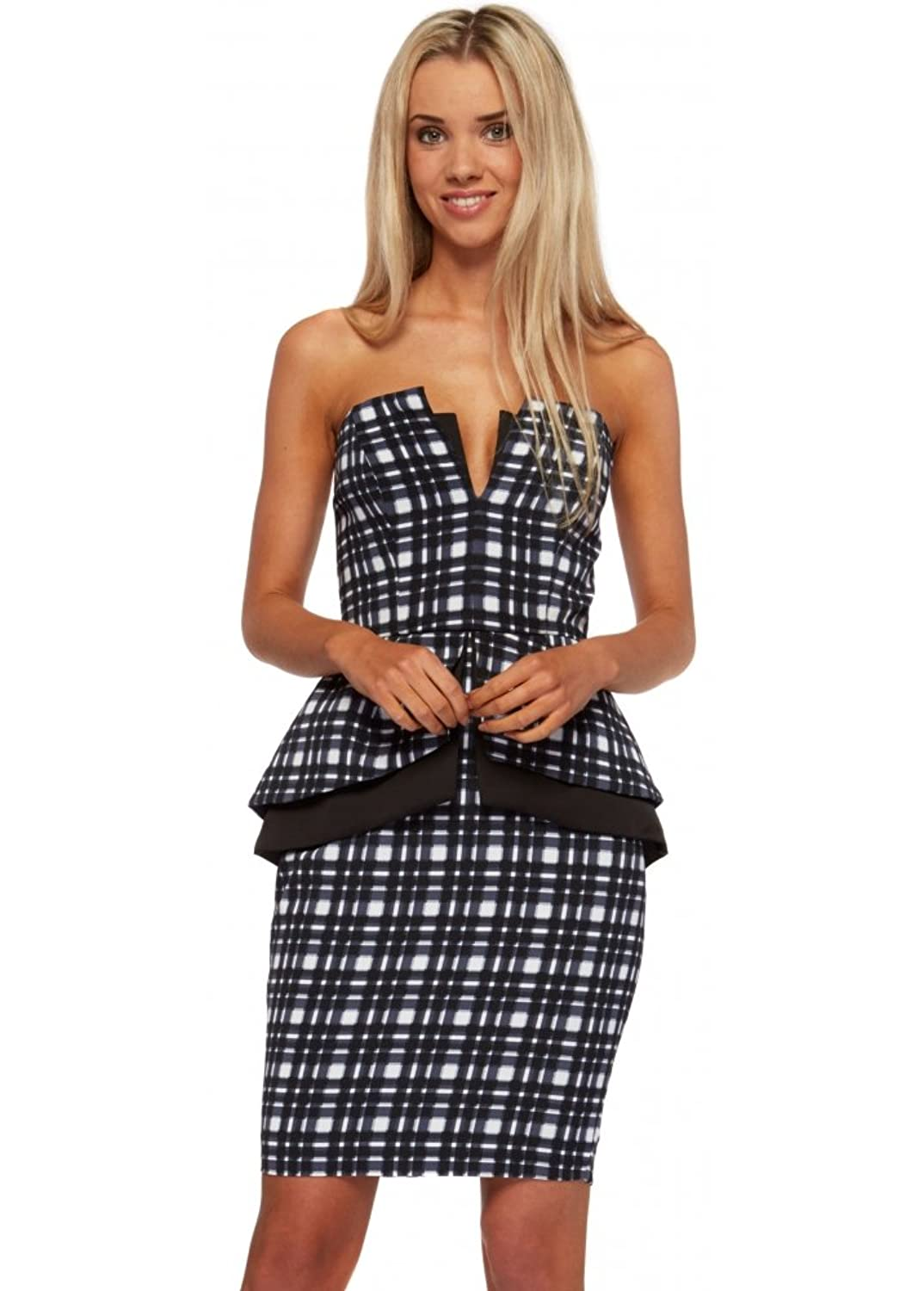 Finders Keepers Middle Of Nowhere Navy Tartan Peplum Pencil Dress