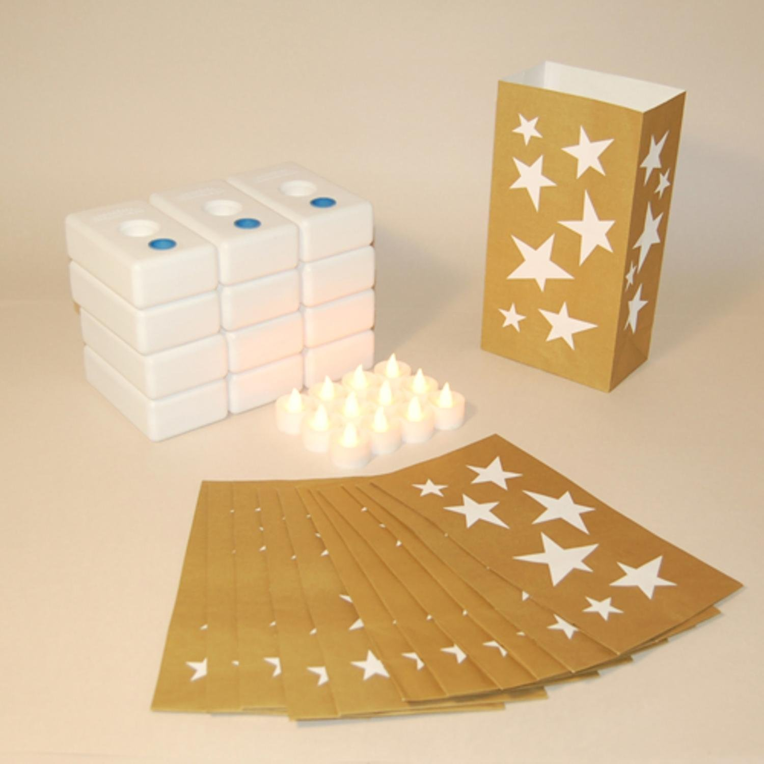 CC Home Furnishings Pack of 12 Battery Operated LED Flameless Tea Candles Gold Stars Luminaria Kit